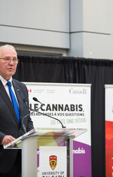 At the University of Calgary on Wednesday, Bill Blair, Government of Canada minister of border security and organized crime reduction, announces funding to support research that will explore the potential harms and therapeutic uses of cannabis. Photos by Riley Brandt, University of Calgary